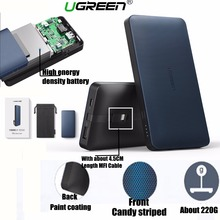 Фотография Ugreen 10000mah Power Bank 5V 2.4A Quick Charge Powerbank with MFI Certified 8 Pin Cable for iPhone 8 X 7 6 6S 5 iPad Universal