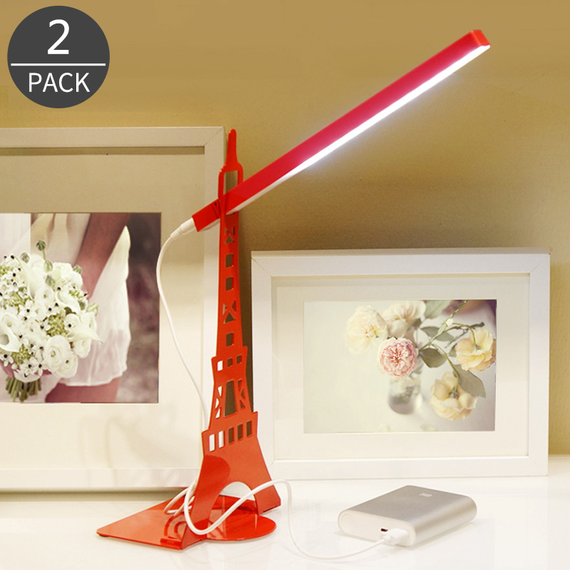 2017 Eiffel <font><b>Tower</b></font> Metal Flexible Touch USB Rechargeable LED Table Lamp Desk Light Eyesight Protection for Study Dormitory 2Pack
