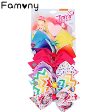 цена на 6 Pieces/Set Rainbow Printed Knot Ribbon Bow For Girls Handmade Boutique Hair Clip Children Hair Accessories