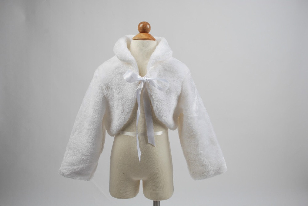 Warm Long Sleeves White/Ivory flower girl fur Cape Wedding Cloak Faux Fur Jacket 2016 Winter Kid flower girl cape Outerwear Coat long flower girl cape winter princess junior bridesmaid cape wedding cloak with fur trim with hand warmer for communion dress