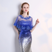 Cause  Women Wraps Tulle Jacket Royal Blue Lace Appliqued Shawl Wild Wrap Top