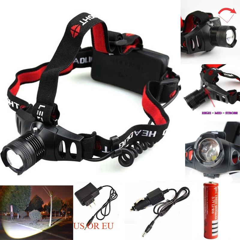 1600lm Wodoodporny CREE XM-L Q5 3 tryby jasności LED 18650 AAA Reflektor Reflektor światła + ładowarka + 18650 akumulator