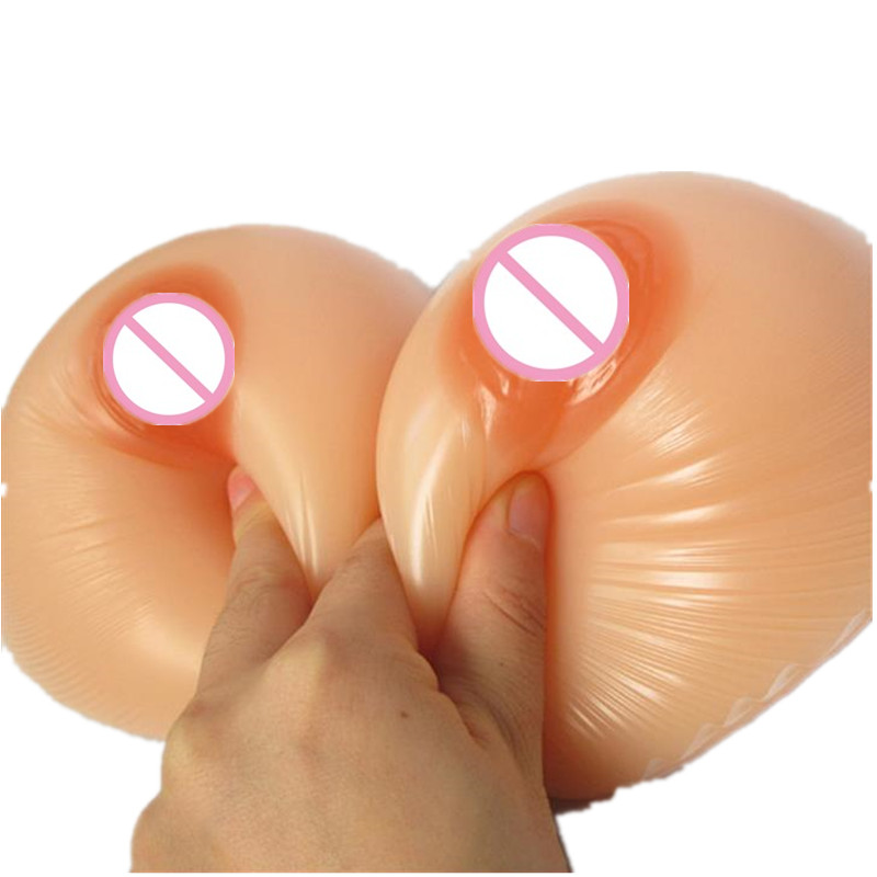 free shipping ,cheapest realistic large nude silicone breast  boob enhancement 1800g H cup shemale cross-dressing