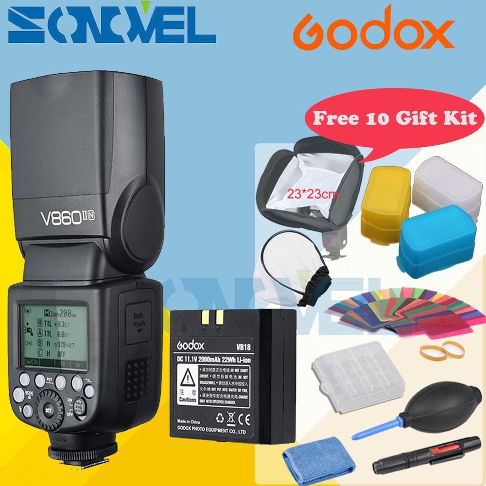 Godox V860II-N 2.4G i-TTL HSS 1/8000 Li-on Battery Camera Flash Speedlite for Nikon D3300 D3200 D810 D750 D500 D5 D4s + Gift Kit godox v860ii n v860iin gn60 i ttl hss 1 8000s speedlite flash w li ion battery x1t n flash transmitter optional for nikon