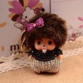 2017 Monchichi Keychain Fur Pom Pom Keychain Rabbit fur ball Crytsal Kiki key chain porte clef For Bag Charms Gold Car Keyring
