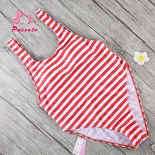 Pacento 2017 Striped Bodysuits Women Solid Black Monokini One Piece Swimsuit Red and White Swimwear Sexy Bathing Suit Plavky May