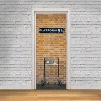 Funlife 77x200cm Platform Design Self Adhensive Peel Door Stickers Home Decor For Home Decoration DM007