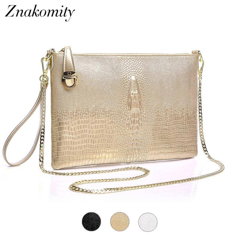 Znakomity gold women genuine leather Clutch Bag female Evening Bags Clutches luxury Crossbody Tote Shoulder Bags for women ladys цена