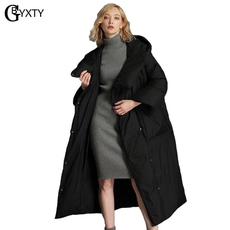 GBYXTY XS-7XL Plus La Taille Vers Le Bas Veste Femmes D'hiver Long et Épais Surdimensionné Duvet de Canard Veste et Manteau 2018 Plume Vers Le Bas Parka ZA1067