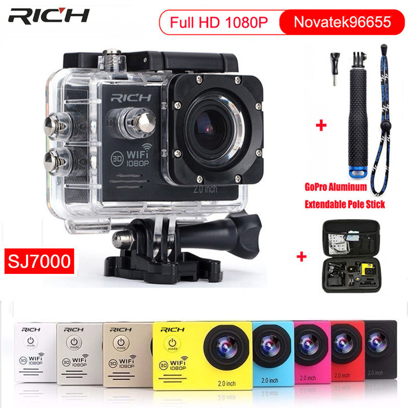 Action Camera Full HD 1080P 30FPS Wifi 170 Degree Waterproof 30M Min DV Sport Camera+Aluminum Extendable Pole Stick+bag