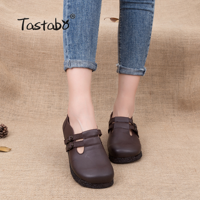 Tastabo Women Genuine Leather Flat Shoes Retro Handmade Women Shoes Sapatilhas Femininos Slip-on Casual Shoes For Ladies tastabo handmade autumn women genuine leather shoes cowhide loafers real skin shoes folk style ladies flat shoes for mom sapato