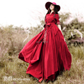 Free Shipping 2017 New Fashion Corduroy Long-sleeve Trench Dresses For Women Floor Length Irregular Bohemian Dress With Belt