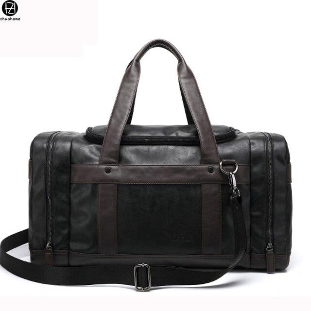 Venda quente de grande capacidade homens sacos de viagem de couro do vintage grande bolsas homens bolsas de ombro mochilas saco da bagagem de alta qualidade para masculino