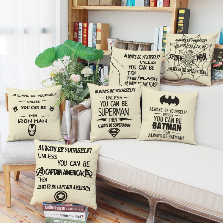 Wedding Home Textiles Decoration Cushion Cover cartoon Justice League Cotton Linen Throw Pillow Case Lovers Gifts