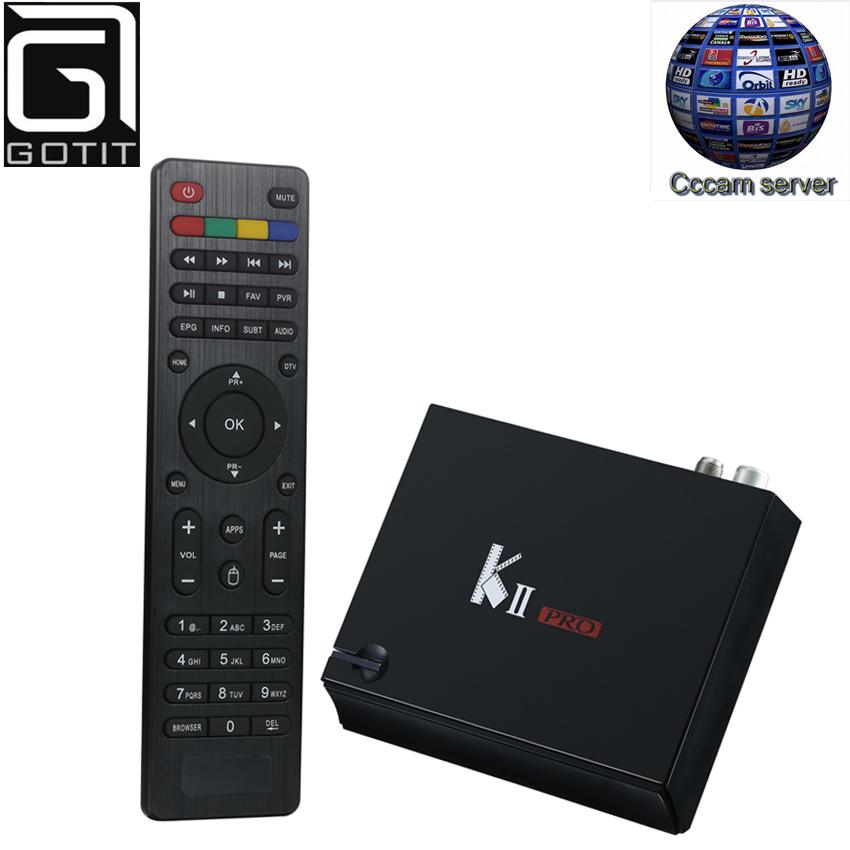 Prix pour Kii Pro Android Satellite récepteur K2 DVB-S2 DVB-T2 Récepteur avec 1 année Europe CCcam à regarder Espagne Italie ROYAUME-UNI Bousculade TV BOX