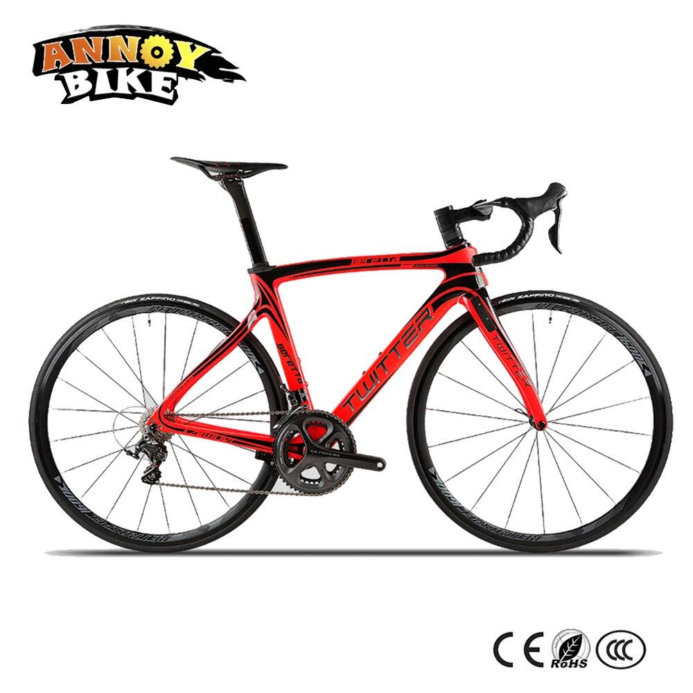 7.6 kg luxe 700C vélo de route 22 vitesses en Fiber de carbone frein vent cadre Shimano 6800-22 avec frein de Cabel intérieur Vittoria pneu de route