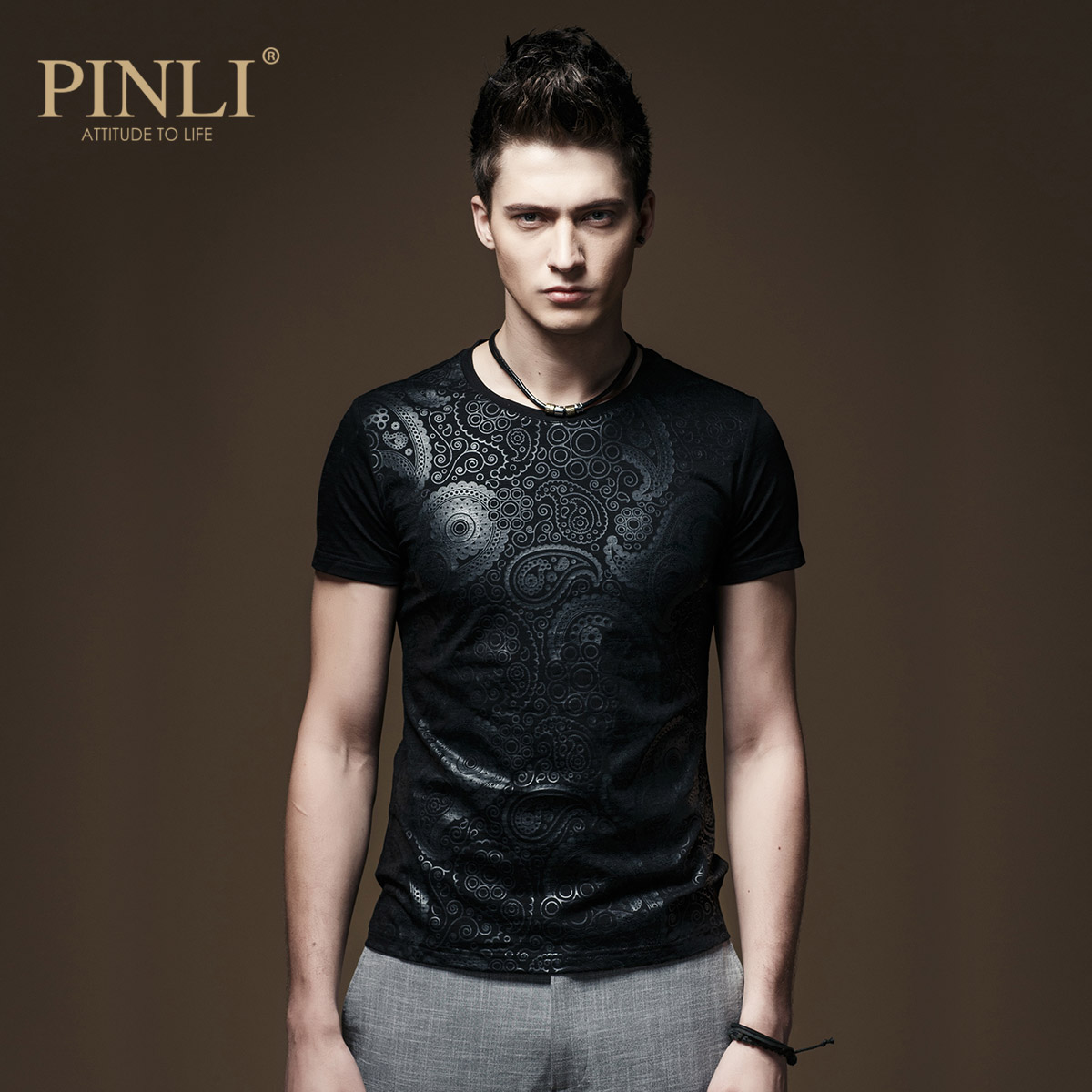 2017 New Arrival Rushed No Pinli Pinly Men's T-shirt, Short Sleeved Men Wet Clothes Sleeve Male Summer Boys Slim T-shirt T142