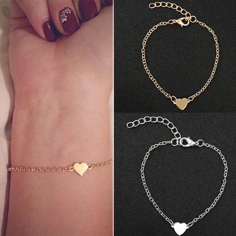 New Hot Heart Bracelet and Bangle For Women Golden Silver Color Metal Simple Bracelet Statement Jewelry Wholesale ns1