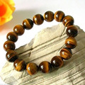 Wholesale price 16new ^^^^Natural 12mm Brown Tiger eye Stone Beads Men Women's Bracelet Elastic Bangle