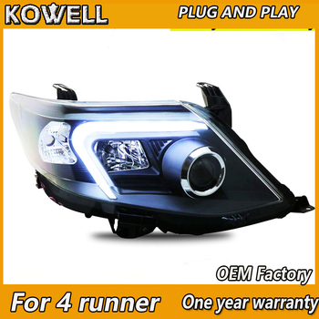 KOWELL Car Styling Headlights 2011-2015 for Toyota 4Runner DoubleU Angel Eye LED DRL Lens Double Beam H7 HID Xenon bi xenon lens