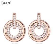 2017 Nueva Moda pendientes mujer moda Pendientes de cristal De Swarovski Elementos de cristal de Oro Rosa Pendientes de la joyería