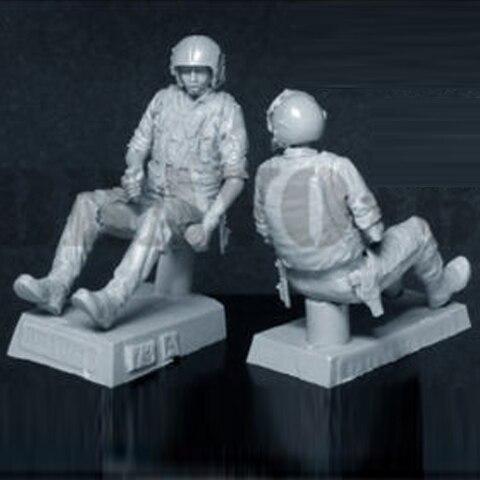 Resina figuras 1/35 escala sem pintura helicópteros pilotos da II Guerra Mundial soldados de guerra militar mãos para fazer o modelo branco