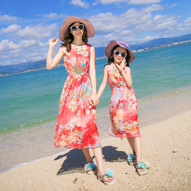 2aebb7ba51 2017 New Arrival Mother and Daughter Clothes Beach Dresses Floral Orange  Baby Girl Decor Mother &