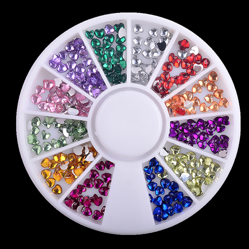 1 Box Love 12 Colors 3MM Rhinestones Nail Art Wheel DIY Nail Stickers Tips Decoration 3D Manicure tools 12 jars set colorful mini nail caviar glass rhinestones 12 colors micro beads balls manicure tools diy 3d nail art decoration