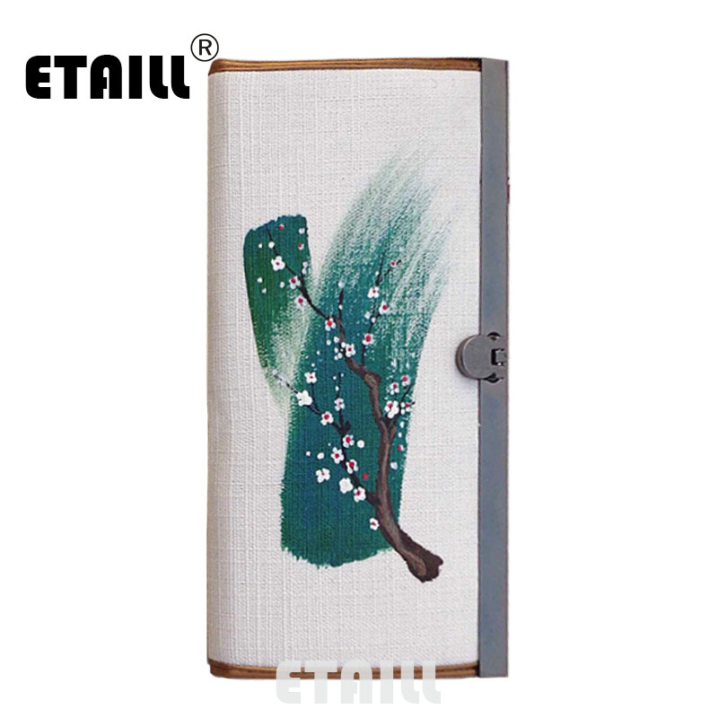 ETAILL Plum Vintage Women Wallets Hand-painted Flower Pattern Purse China Style Wallet Phone Holders Money Bag Carteira Feminina comics dc marvel wallets green arrow leather purse women money bags gift wallet carteira feminina bolsos mujer de marca famosa