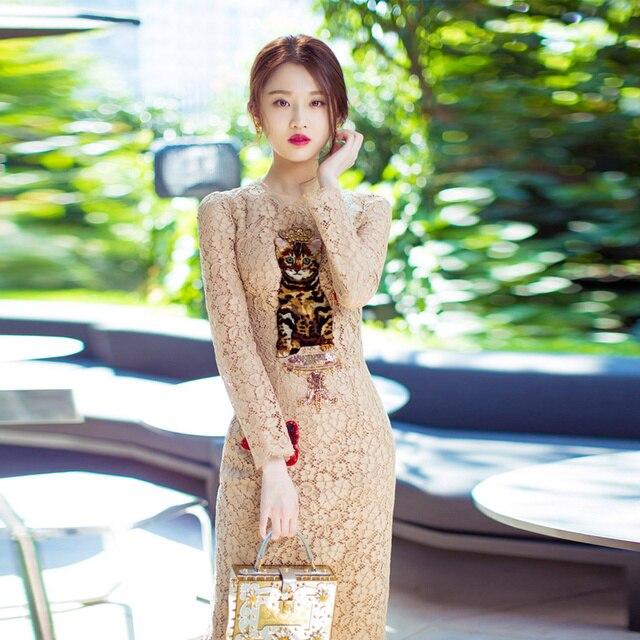 Новые женские платья взлетно-посадочной полосы Роскошные блестками Cat Лето 2017 г. Женская Праздничная обувь Кружева Тонкий элегантное платье Высокое качество супер звезда тенденция