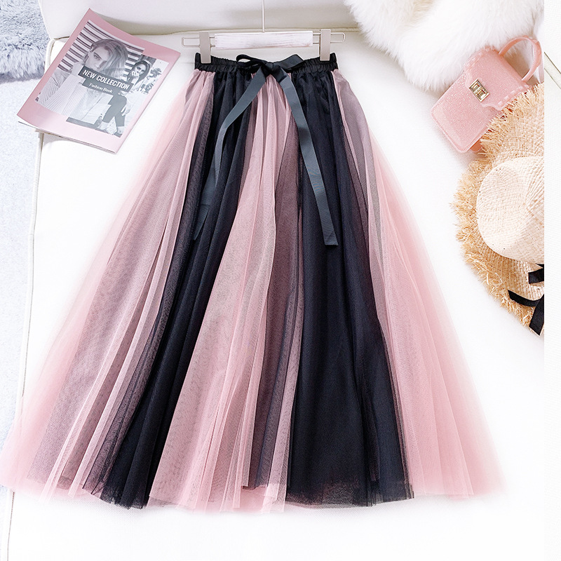 2020 Summer New Arrival High-waist Color Matching Ankle-Length <font><b>Ball</b></font> Gown <font><b>Skirt</b></font> Mesh Woman Long <font><b>Skirt</b></font> With Bow Free Shipping image