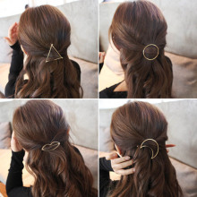 Hot Sales New Style Women's Simple Elegant Metal Geometric Round Triangle Moon Hairpin Hair Clip