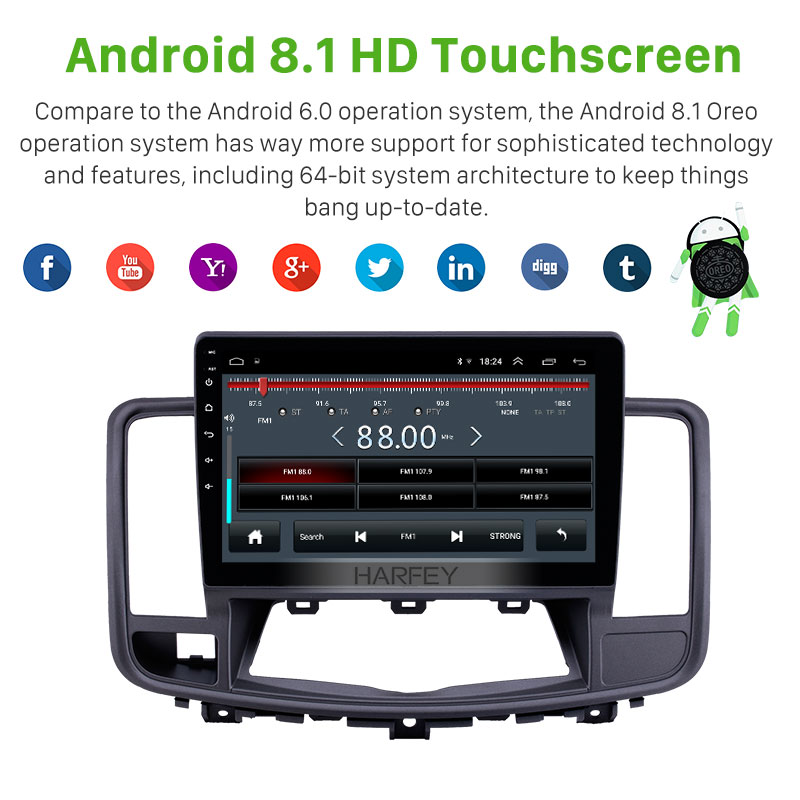 Excellent Harfey 10.1 inch for 2009-2013 Nissan Old Teana Android 8.1 2 din Head Unit GPS Radio with AUX WIFI support OBD2 DVR SWC Carplay 2
