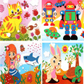 6 pcs/lot EVA sticker 3D collage EVA DIY handmade coloring sticker puzzle combo F type 26* 18.5cm
