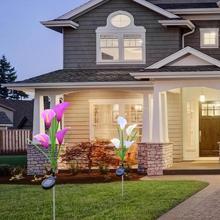 3 шт. Солнечный 4LED моделирование Калла подсветка для лилий Сад теплый и ароматный красивый пейзаж декоративная лампа белый фиолетовый 73 см