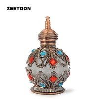 Luxury Diamonds 15g Snuff Bottle Alloy Plated Copper Frosted Glass ROCOCO Style Small Pot Belly Snuff Tools Vintage Home Decor