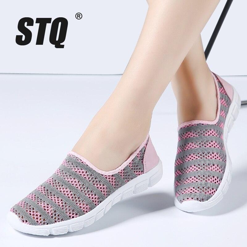 STQ 2018 Summer women shoes women Breathable Mesh sneakers shoes ballet flats ladies slip on flats loafers shoes Plus size E39