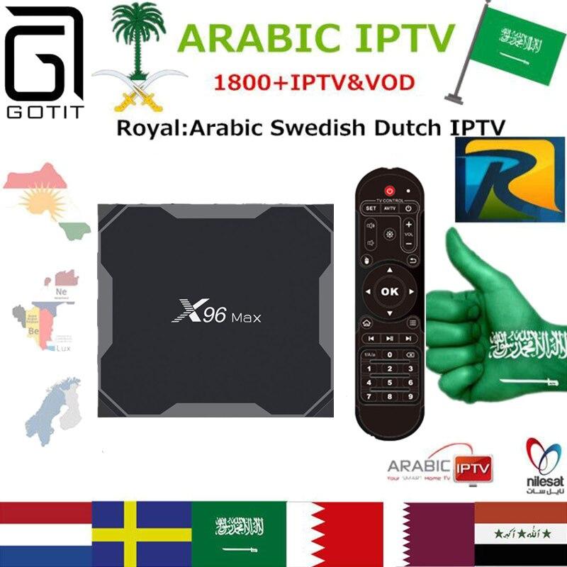 GOTiT Arabisch X96 Max Android 8.1 TV Box 32g/64g Amlogic S905X2 Dual WIFI + Royal Arabische UK Schwedisch Schweizer Afrika Latino Afrika Box-in Digitalempfänger aus Verbraucherelektronik bei  Gruppe 1