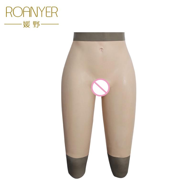 Roanyer crossdresser silicone falso della vagina pantaloni drag queen artificiale in lattice biancheria intima per trans Transgender falso figa