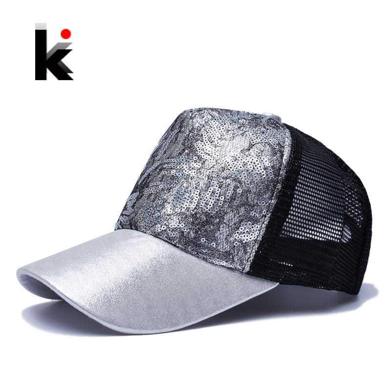 Casual Hüte Für Frauen Pailletten Blinkt 5 Panel Trucker Hip Hop Cap Mädchen Atmungsaktiver Mesh Hut Sommer Baseball Knochen Feminino