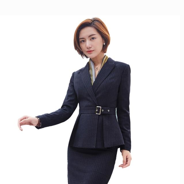 Casual Blazer Women Plus Size Office Wear Belt Striped Suit Jacket