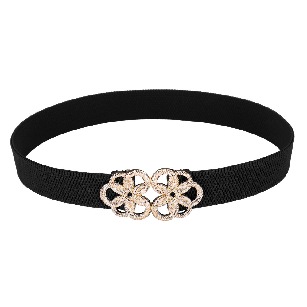 2017 Women Blet Metal Floral Interlock Buckle Elastic Waist Belt Vintage Waistband Red Black White Blue Luxury Belts For Dress