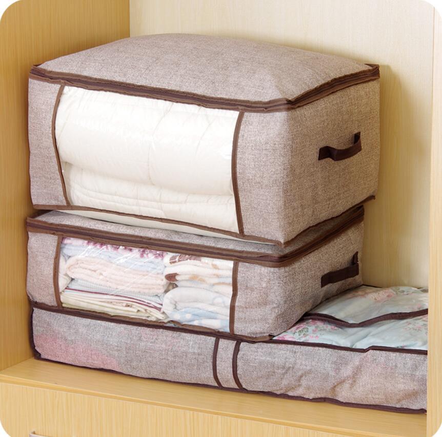 Organizador Bag Imitative Linen Storage Dustproof Bedding Closet Organizer Bags Clothes Holder Vacuum In From Home Garden On
