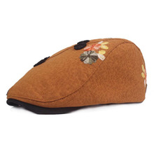 BINGYUANHAOXUAN Winter Outdoors Sun Hat Wool Knit Embroidered Beret Female Painters Newboy Cap Manual Nail Bead Flower Hat