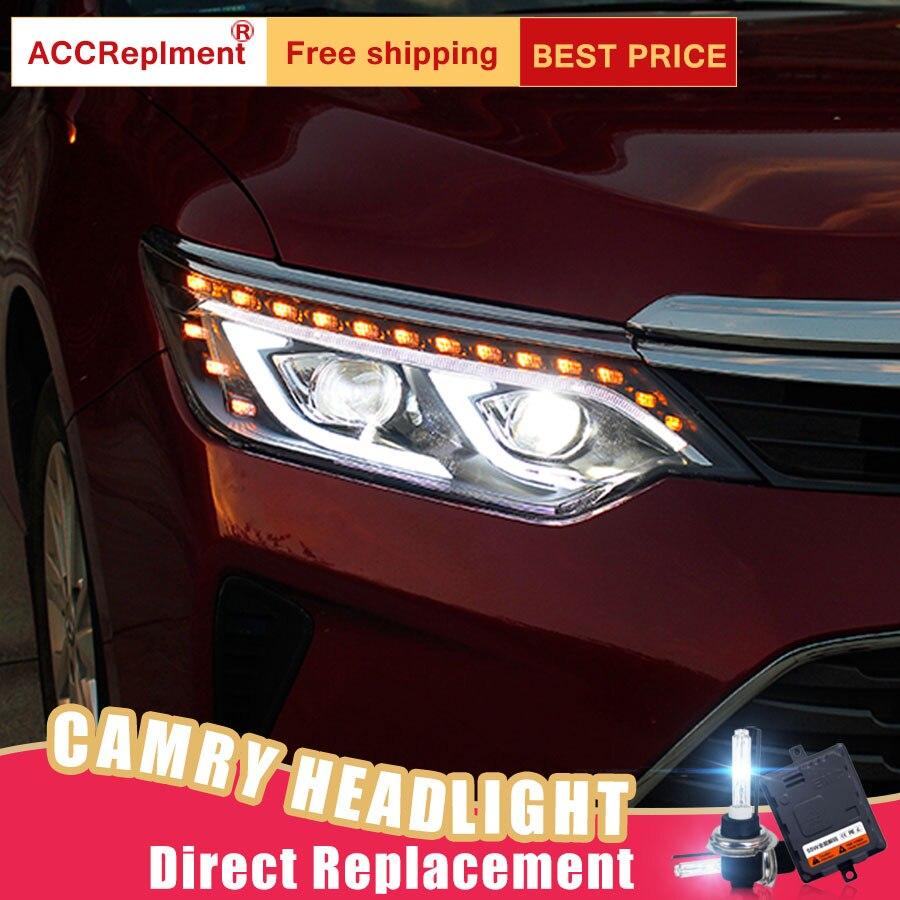 2 шт светодиодный фары для Toyota Camry 2014 2015 светодиодный огни автомобиля глаза ангела xenon HID комплект протовотуманная подсветка Габаритные огни