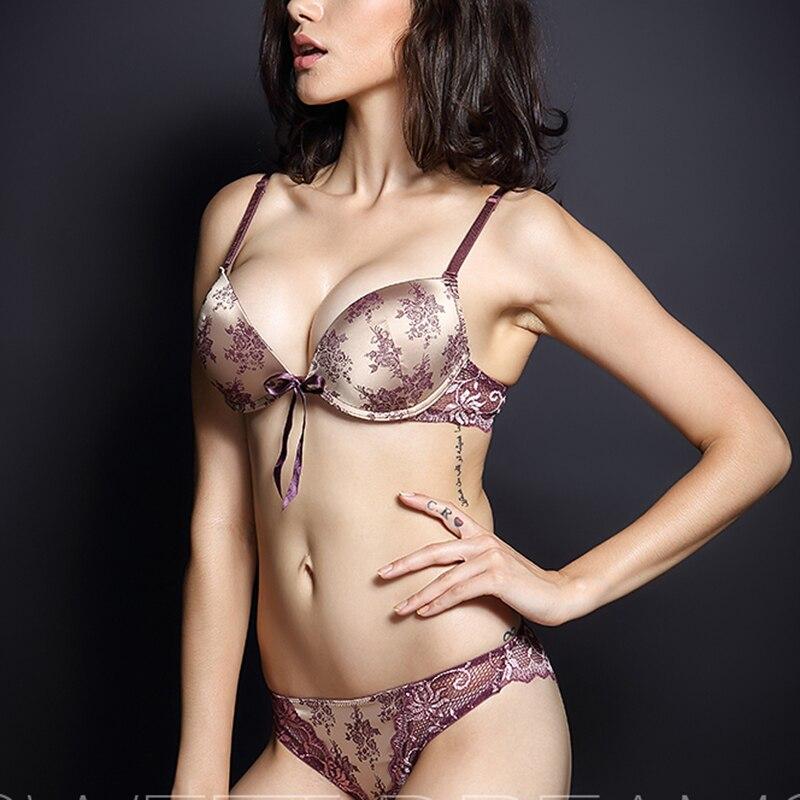 Luxury Women   Bra     Set   Thong Lingerie Femme Thick Super Push Up Satin Lace   Bra   And Panties Ladies Hot Sexy Underwear   Set   Plus Size