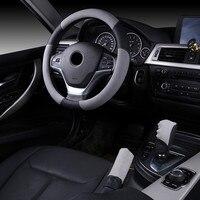 38cm Greg & Black Breathable Anti slip Handbrake Car Auto Steering Wheel Cover