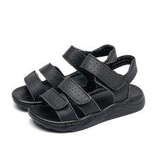 大きな男の子黒革サンダルビーチサンダル子供フォーマル靴スクールシューズ子供品質夏の靴オープンつま先26 37 3ストラップ