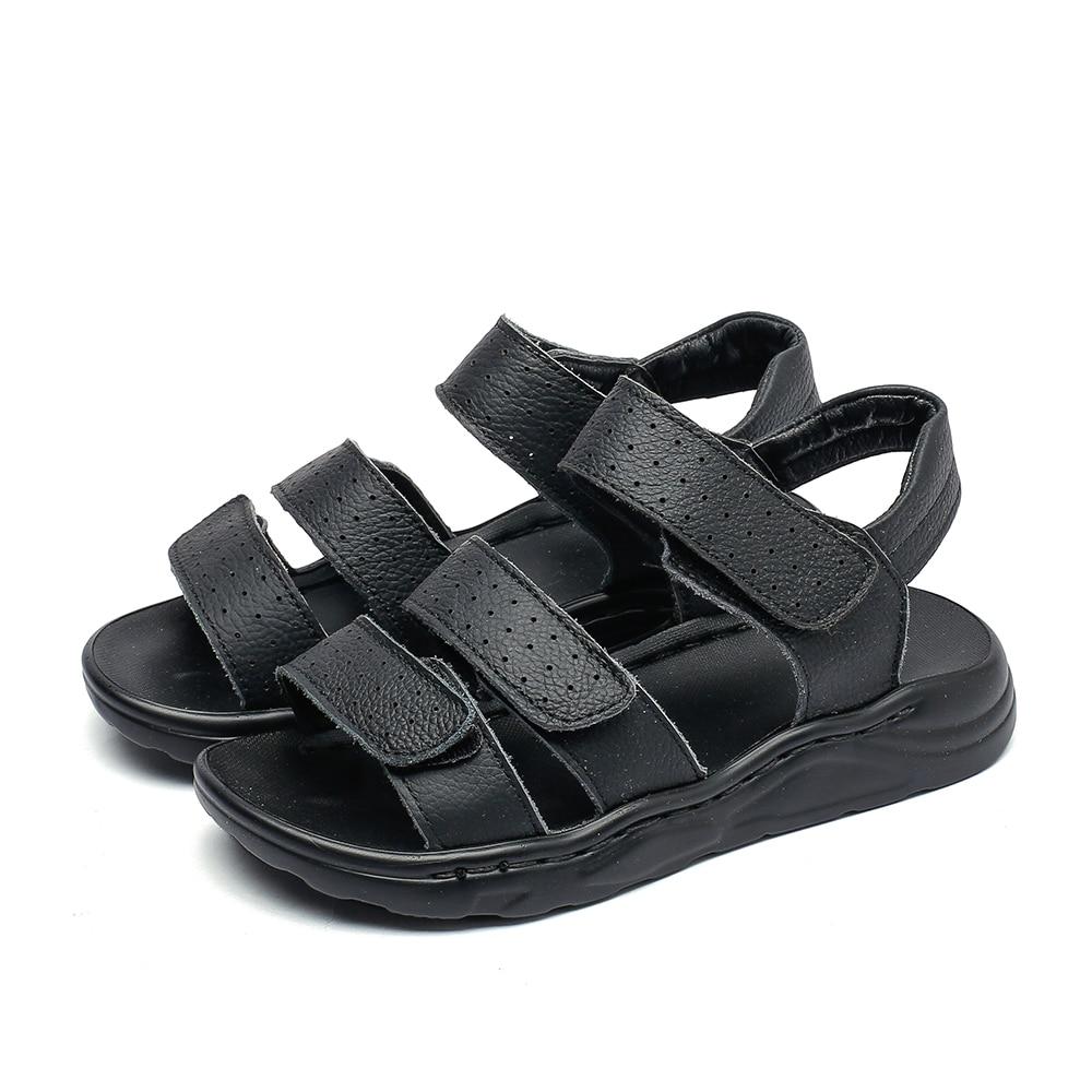 b2726ddb3d711 Grands garçons sandales en cuir noir sandales de plage enfants ...