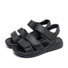 Duże chłopcy czarne skórzane sandały plażowe sandały dzieci formalne buty buty szkolne dzieci jakości letnie buty open toe 26 37, 3 paski,